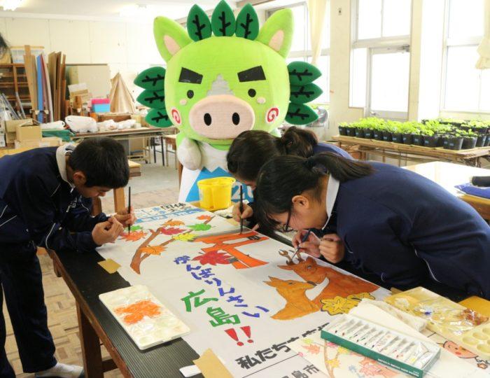 鹿児島市立吉田北中学校で応援のぼり旗の取材をしました!~手作り応援のぼり旗~